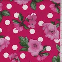 Hot Pink Polka Dot Floral Brushed Jersey Knit