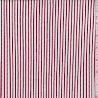 White/Garnet Stripe Rayon Challis