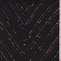 Black/Gold/Wine Chevron Sequin Mesh