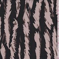Taupe Zebra Stripe Crepe de Chine