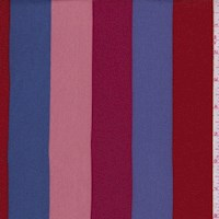 Cranberry/Salmon/Blue Stripe Crepe Georgette