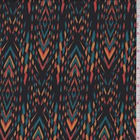 Black/Aqua/Orange Diamond Stripe Charmeuse