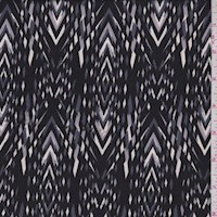 Black/Slate/Silver Diamond Stripe Charmeuse
