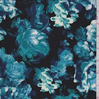 Black/Turquoise Floral Charmeuse