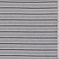 *3/4 YD PC--Heather Grey/Slate Stripe Sweatshirt Fleece