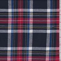 *1 1/2 YD PC--Navy/Red/White Plaid Flannel