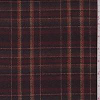 *3 5/8 YD PC--Maroon/Multi Wool Blend Plaid Jacketing