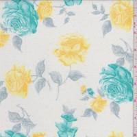 *1 YD PC--White/Teal Floral Cotton Lawn