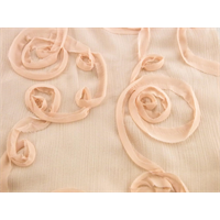 *1 3/4 YD PC--Blush Pink Ribbon Swirl Sparkle Crinkled Chiffon