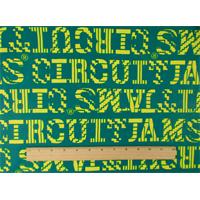 "*3 YD PC--Turquoise/Neon Yellow ""Jam Circuit"" Print Poplin"