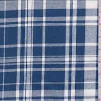 *1 7/8 YD PC--Dark Blue/Off White Plaid Flannel