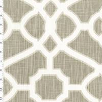 *3 YD PC--Taupe/Cream White Moroccan Print Woven Decorating Fabric