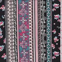 *7/8 YD PC--Black/Pink Wallpaper Stripe Rayon Challis