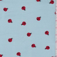 Sky Blue Ladybug Double Brushed Jersey Knit