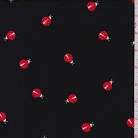 Black Ladybug Double Brushed Jersey Knit