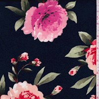 Dark Blue/Coral/Pink Floral Double Brushed Jersey Knit