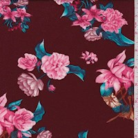 Maroon Floral Cluster Double Brushed Jersey Knit