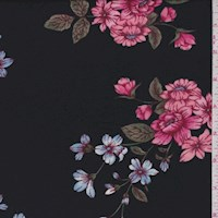 Black Floral Spray Double Brushed Jersey Knit