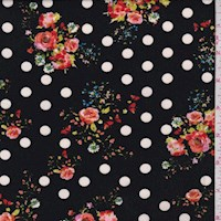 Black Floral Dot Double Brushed Jersey Knit