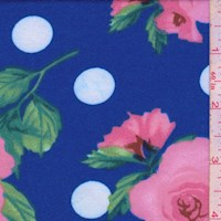 Electric Blue Rose Dot Double Brushed Jersey Knit