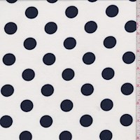 White/Navy Polka Dot Double Brushed Jersey Knit