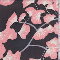 Black/Peach Gingko Silk Chiffon