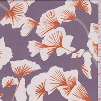 Dark Lilac/White Gingko Silk Chiffon