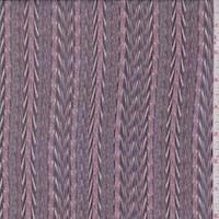 Coral/Spruce/Merlot Flamestitch Stripe Silk Chiffon