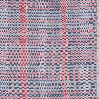 Navy/Salmon/Taupe Basketweave Plaid Silk Chiffon