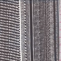 Black/White Tribal Stripe Silk Chiffon