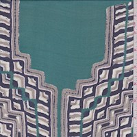 Jewel Green/Navy/Stone Tile Medallion Silk Chiffon