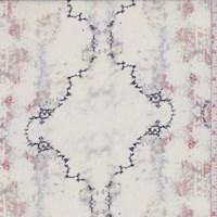 Ivory/Midnight/Rust Marble Ogee Silk Chiffon