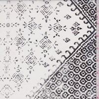 White/Black Inca Block Silk Chiffon