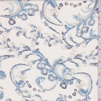 White/Dusty Blue Floral Scroll Silk Chiffon
