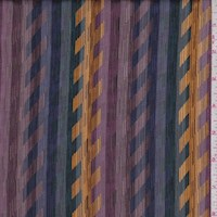 Plum/Marigold/Spruce Abstract Herringbone Satin Stripe Silk Chiffon