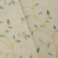 *2 1/2 YD PC -- Beige/Spa Green/Multi Leaf Vine Embroidered Textured Woven Decorating Fabric