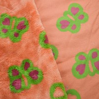 *3 YD PC -- Orange/Green/Red Butterfly Faux Fur Knit