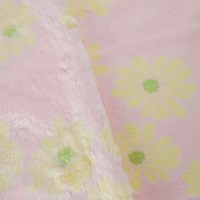 *7 YD PC -- Pink/Lime Green Floral Low Pile Faux Fur Knit