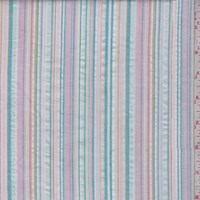 White/Pink/Teal Cotton Seersucker Stripe