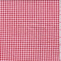 Cherry Red/White Gingham Check Cotton Seersucker