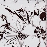 White/Brown Modern Floral Poplin