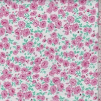 White/Pink Rose Bloom Cotton Flannel