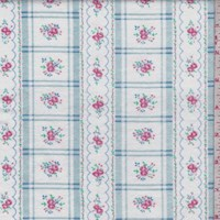 White/Sky Floral Check Cotton Flannel