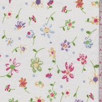 White Tossed Floral Cotton Flannel