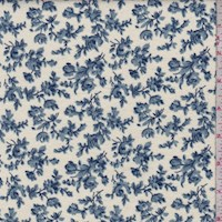 Cream/Wedgewood Floral Vine Cotton Flannel