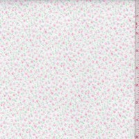 White/Pink Mini Floral Cotton Flannel