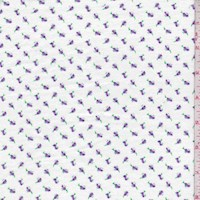 White/Purple Mini Rosebud Cotton Flannel