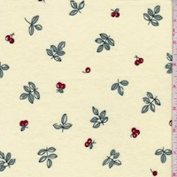Buttercream Cherry Print Cotton Flannel