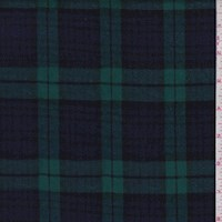 Emerald/Navy Blackwatch Plaid Cotton Flannel