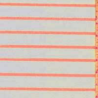 White/Neon Orange Stripe Double Brushed Jersey Knit